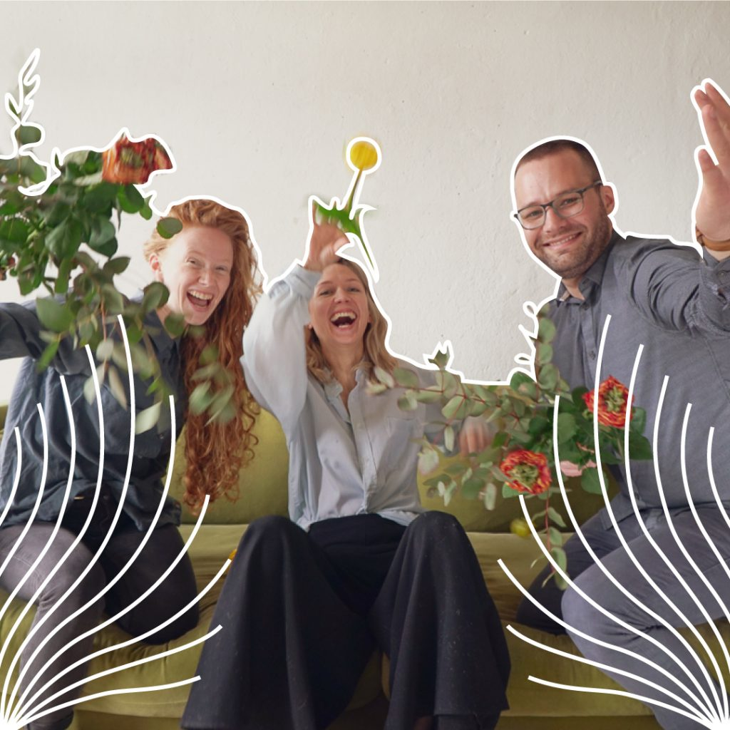 Jennifer, Lilli and Markus are sitting and kneeling on a green couch. They are laughing for excitement and happiness and throwing flowers into the air. A line illustration is emphasising the composition of the picture..