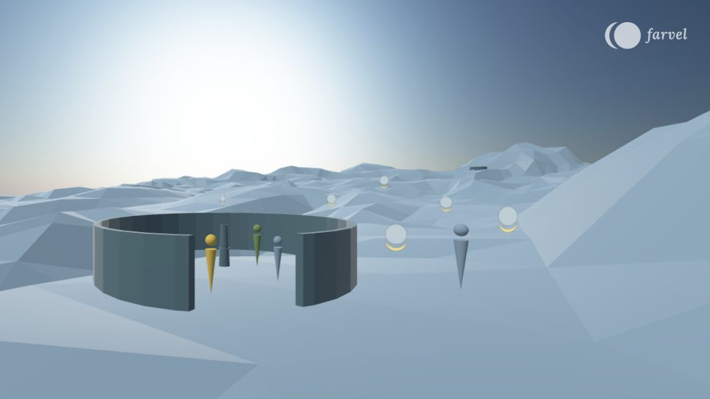 The picture shows the grey blue scene of Virtual Isles of Remembrance which has an edgy terrain and a clear blue sky. There are round half circles that function as gathering points for the users. Colourful avatars are investigating the space, leaving audio messages. These messages are illustrated with the farvel symbol rotated with 90 degrees.
