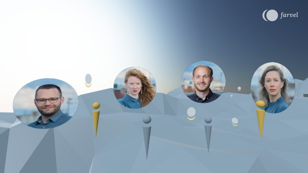The picture shows the grey blue scene of Virtual Isles of Remembrance which has an edgy terrain and a clear blue sky. Colourful avatars are investigating the space, leaving audio messages. These messages are illustrated with the farvel symbol rotated with 90 degrees. In between, round pictures of the project team were placed. Markus Traber, Jennifer Beitel, Felix Wernli and Lilli Berger can be seen.