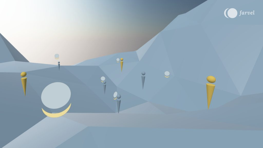 The picture shows the grey blue scene of Virtual Isles of Remembrance which has an edgy terrain and a clear blue sky. Colourful avatars are investigating the space, leaving audio messages. These messages are illustrated with the farvel symbol rotated with 90 degrees.