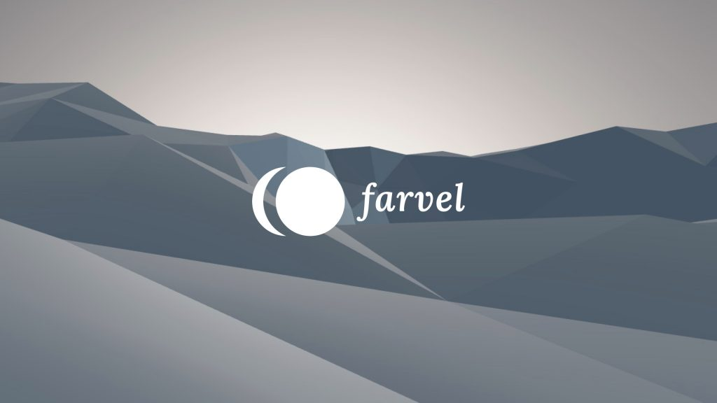 The white farvel logo is centered in front of the blue grey scene of Virtual Isles of Remembrance.