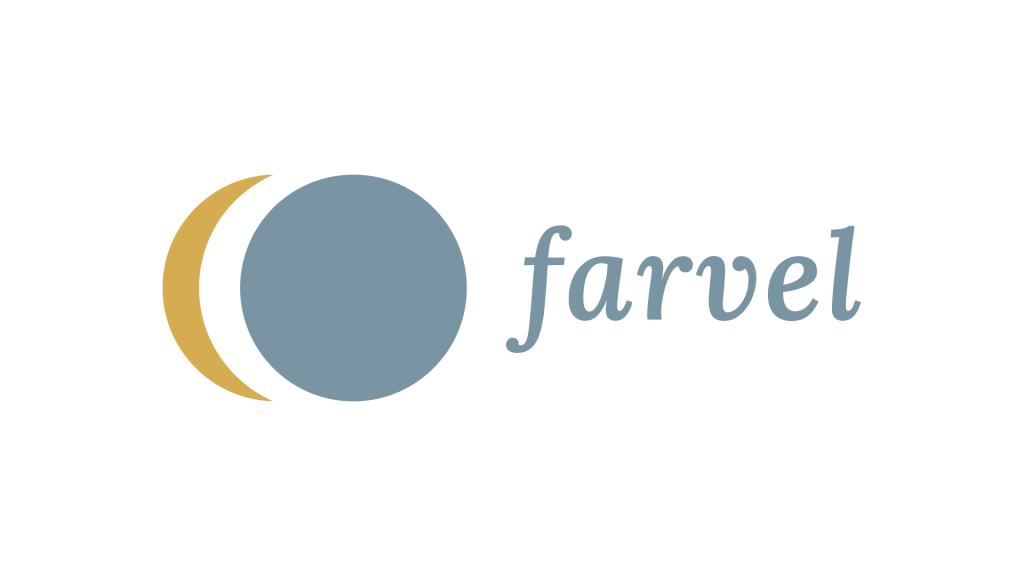 The logo consists of a symbol and a title which says farvel. The symbol is a golden crescent moon behind a full grey blue moon. The title is written with a serif italic font with round edges.